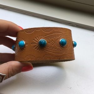 Jewelry - Faux leather bracelet with turquoise accents